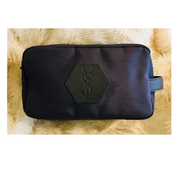 828bc492079 Yves Saint Laurent Bags | Ysl Logo Gray Travel Makeup Bag | Poshmark